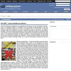 Oral EAF : Livres interdits aux élèves !