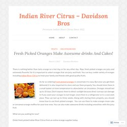Fresh Picked Oranges Make Awesome drinks And Cakes! – Indian River Citrus – Davidson Bros