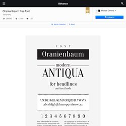 Oranienbaum free font on Behance