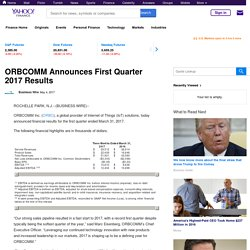 ORBCOMM Announces First Quarter 2017 Results