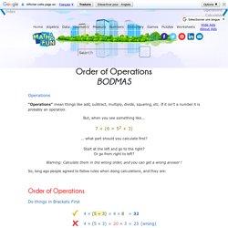 Order of Operations - BODMAS