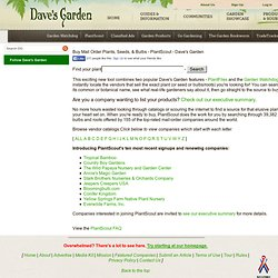 Buy Mail Order Plants, Seeds, & Bulbs - PlantScout - Dave's Garden