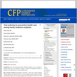 Test ordering for preventive health care among family medicine residents