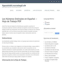 Los Números Ordinales en Español - Hoja de Trabajo PDF - SpanishLearningLab
