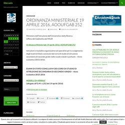 Ordinanza Ministeriale 19 aprile 2016, AOOUFGAB 252