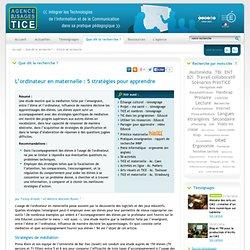 L'Agence nationale des Usages des TICE - L'ordinateur en maternelle : 5 stratégies pour apprendre
