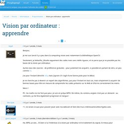 Vision par ordinateur : apprendre · Forums · Progdupeupl