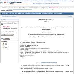 Ordonnance n° 2020-387 du 1er avril 2020 portant mesures d'urgence en matière de formation professionnelle