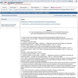 Ordonnance n° 2010-49 du 13 janvier 2010 relative à la biologie médicale - Article 2