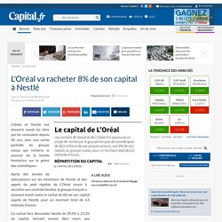 L'Oréal va racheter 8% de son capital à Nestlé