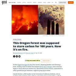 double trouble This Oregon forest was supposed to store carbon for 100 years. Now it's on fire. By Emily Pontecorvo and Shannon Osaka on Sep 18, 2020