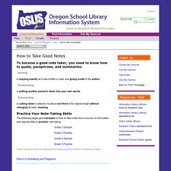 How to Take Good Notes — Oregon School Library Information System