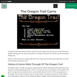 The Oregon Trail Game Online