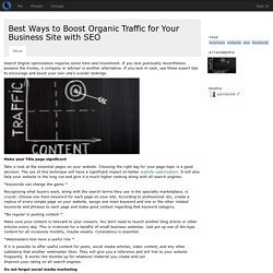 Best Ways to Boost Organic Traffic for Your Business Site with SEO - pjordan06