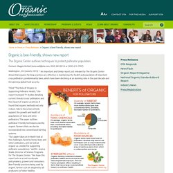 ORGANIC TRADE ASSOCIATION - JUIN 2015 - Organic is bee-friendly, shows new report