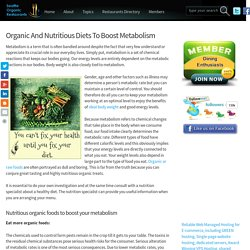 Organic And Nutritious Diets To Boost Metabolism