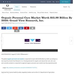 Organic Personal Care Market Worth $15.98 Billion By 2020: Grand View Research, Inc.