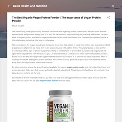 The Importance of Vegan Protein Powder