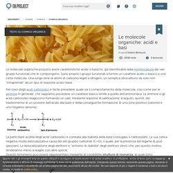 Acidità e basicità delle molecole organiche: ioni e costante di dissociazione