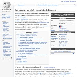 Loi organique relative aux lois de finances