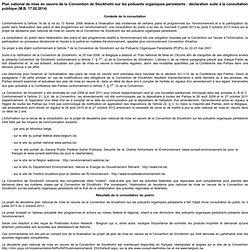 WALLONIE_BE 17/02/14 Plan national de mise en oeuvre de la Convention de Stockholm sur les polluants organiques persistants : dé