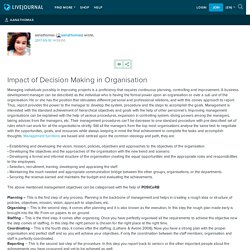 Impact of Decision Making in Organisation