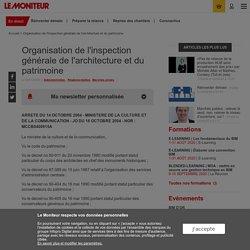 Organisation de l'inspection générale de l'architecture et du patrimoine