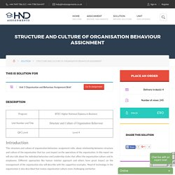 Structure Culture Organisation Behaviour Assignment – HND Help