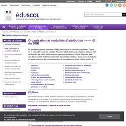 Diplôme national du brevet - DNB : organisation et modalités d'attribution