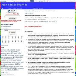 Le point sur l'organisation de ma classe - Mon cahier journal