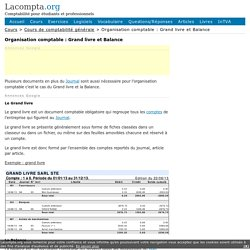 Organisation comptable : Grand livre et Balance