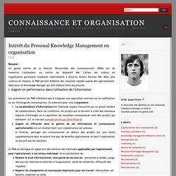 Intérêt du Personal Knowledge Management en organisation