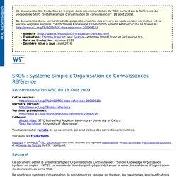 SKOS : Système Simple d'Organisation de Connaissances - Référence - Français