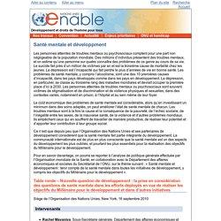 ONU Enable - Les travaux de l'Organisation des Nations Unies pour les personnes handicapées - Santé mentale et développment