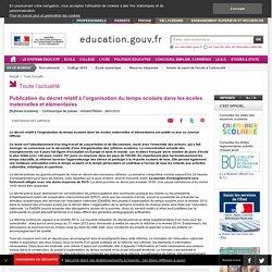 Publication du décret relatif à l'organisation du temps scolaire dans les écoles maternelles et élémentaires