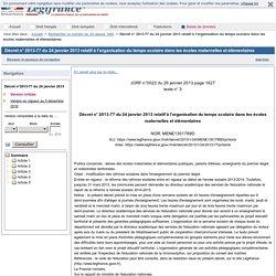 Décret n° 2013-77 du 24 janvier 2013 relatif à l'organisation du temps scolaire dans les écoles maternelles et élémentaires