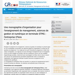 Une monographie d'organisation pour l'enseignement de management, sciences de gestion et numérique en terminale STMG : l'entreprise O'tera