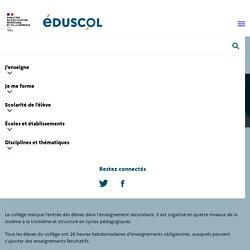 L'organisation des enseignements au collège