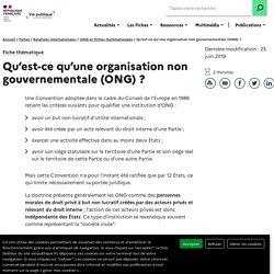 Qu'est-ce qu'une organisation non gouvernementale (ONG) ?