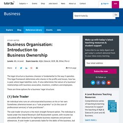 3.1.2 Business Organisation: Introduction to Business Ownership