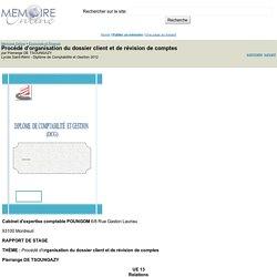 Procédé d'organisation du dossier client et de révision de comptes - Pierrange DE TSOUNGAZY