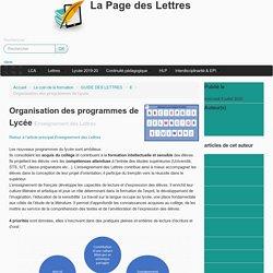 Organisation des programmes de Lycée