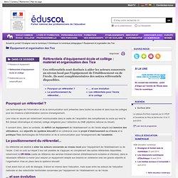 Équipement et organisation des Tice - Référentiels d'équipement école et collège