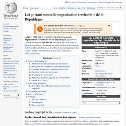 Loi portant nouvelle organisation territoriale de la République
