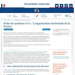 L'organisation territoriale de la France