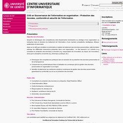 CAS en Gouvernance de l'information en organisation - Protection des données, conformité et sécurité de l'information - Centre Universitaire d'Informatique (CUI) - UNIGE