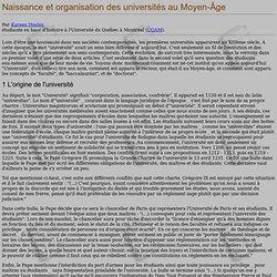 Naissance et organisation des universités