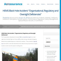 "HEMS Black Hole Accident: ""Organisational, Regulatory and Oversight Deficiencies"" - Aerossurance"