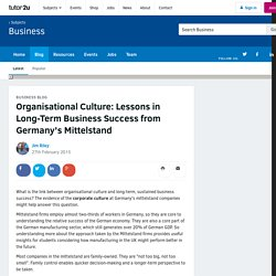 Organisational Culture: Lessons in Long-Term Business Success from Germany's Mittelstand