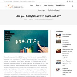 Are you Analytics driven organisation?